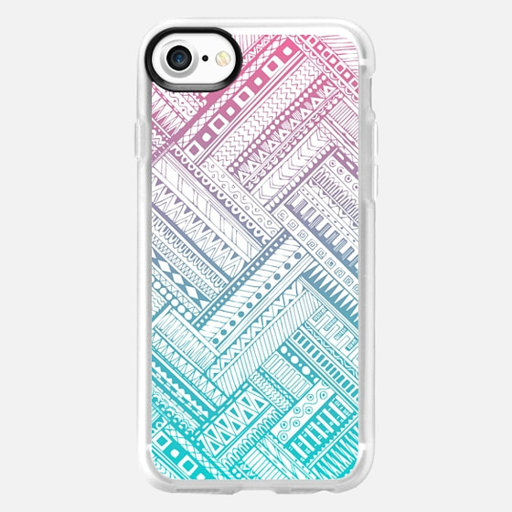 Ombre Pink and Teal Tribal - Wallet Case