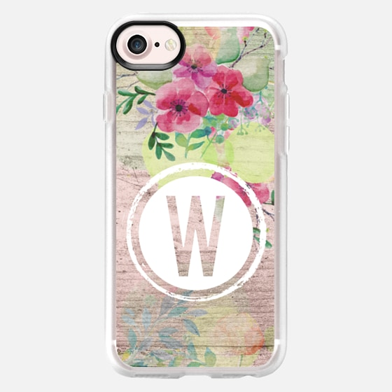 Faded Watercolor Floral on Wood Initial W - Classic Grip Case