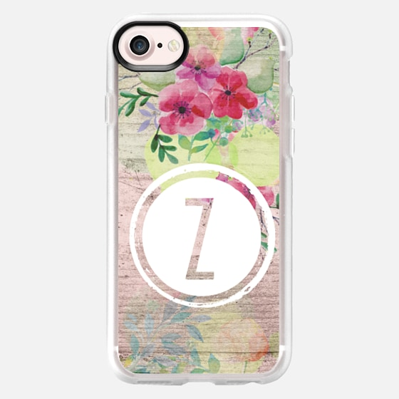 Initial Z Faded Watercolor Floral on Wood - Classic Grip Case