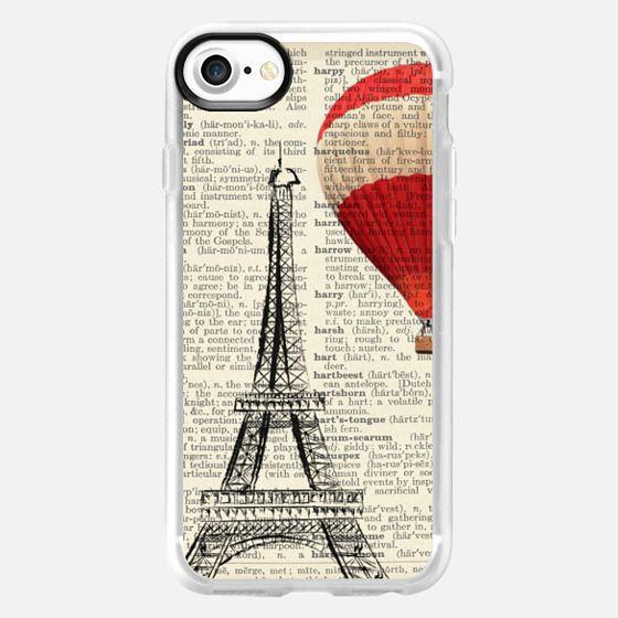 Paris Eiffel Tower and Red Hot Air Balloon on Print -