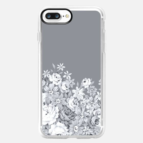 floral decor in grey and white -