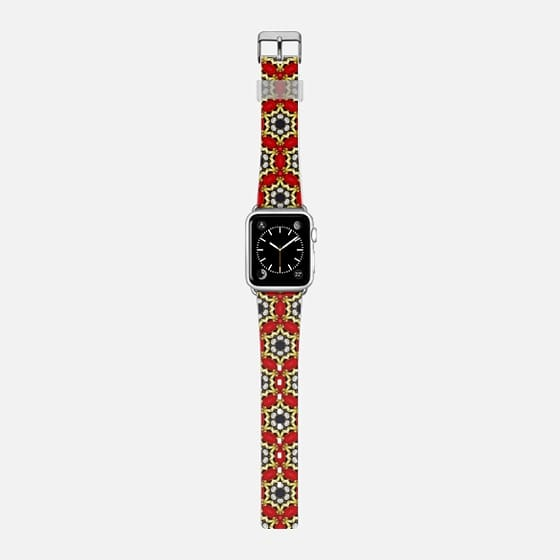 red pearls - Saffiano Leather Watch Band