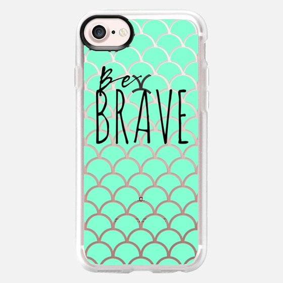 Be Brave + Teal, Blue Fish Scales - Wallet Case