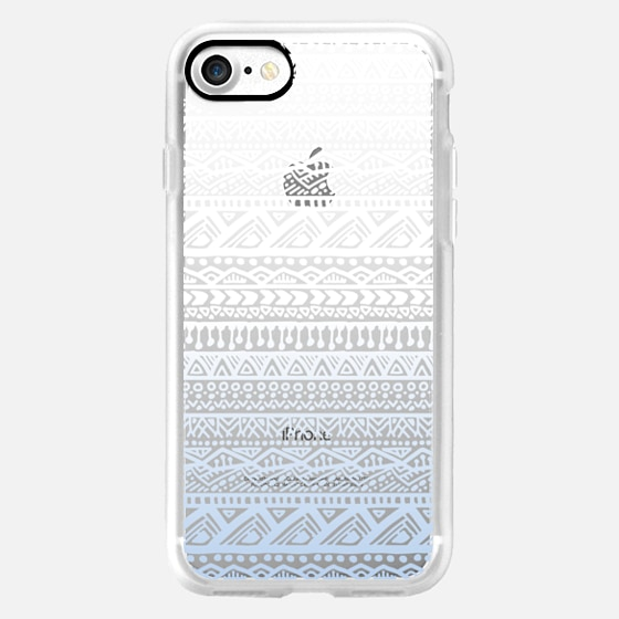 Aztec Pattern, Blue & White Ombre -