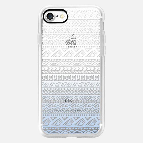 Aztec Pattern, Blue & White Ombre -