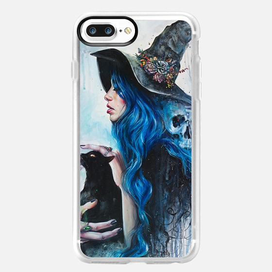 Blue Valentine - Halloween Skull Witch in Hat and her Black Cat -