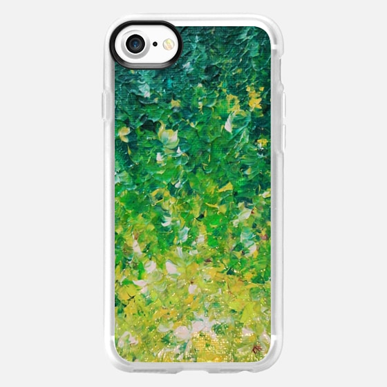 LAKE GRASS - Colorful Grass Kelly Green Citron Lemon Yellow Seaweed Ocean Waves Splash Abstract Ombre Nature Painting - Wallet Case