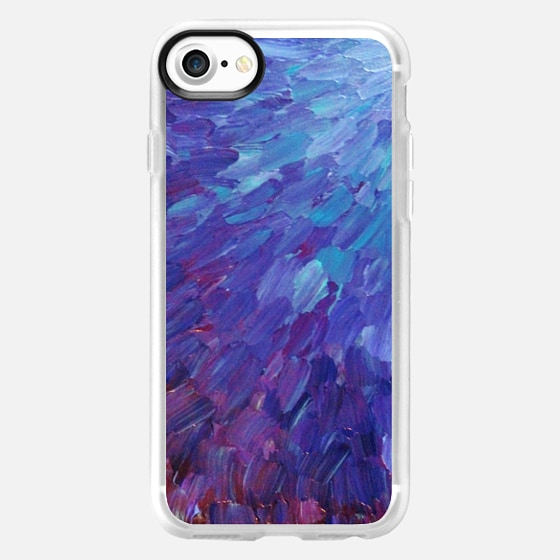 SCALES OF A DIFFERENT COLOR - Bold Deep Violet Aubergine Lavender Periwnke Purple Ombre Ocean Waves Splash Abstract Peacock Feathers Painting - Wallet Case