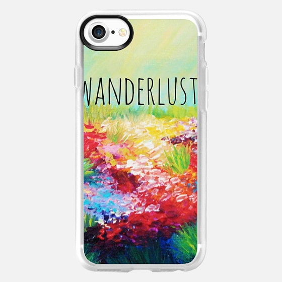 WANDERLUST - Floral Field Wildflowers Summer Colorful Abstract Nature Rainbow Whimsical Explore Adventure Outdoors Hipster Happy Flowers Painting - Wallet Case