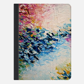 "iPad Pro 9.7"" Case PARADISE DREAMING - Lovely Tropical Island Dreams Whimsical Colorful Bold Rainbow Pastel Abstract Lagoon Nature White Pink Blue Painting"