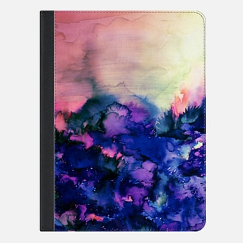 "iPad Pro 9.7"" Case INTO ETERNITY in PINK AND INDIGO BLUE - Colorful Feminine Pretty Abstract Watercolor Floral Field Nature Flowers Girlie Sweet Painting"