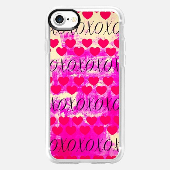 X TO YOUR O, TOO - VALENTINES DAY ROMANCE BRIGHT HOT PINK NEON HEARTS XOXO LOVE ROMANTIC PATTERN COLORFUL GIRLY FINE ART DESIGN -
