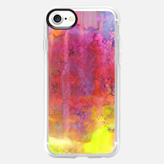 PASTEL IMAGININGS 2 Bold Colorful Abstract Watercolor Painting, Bold Neon Textural Boho Chic Girly Rainbow Orange Pink Marsala Plum Purple Blue Modern Whimsical Fine Art - Wallet Case