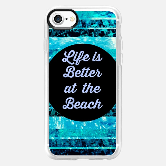 LIFE IS BETTER AT THE BEACH - Colorful Modern Cool Surfer Fun Summer Splash Ocean Waves Turquoise Aqua Blue Black Typography Adventure Quote Coastal Nautical Stripes - Wallet Case