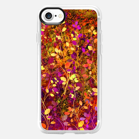 AMONGST THE FLOWERS Warm Sunset - Colorful Abstract Summer Autumn Floral Pattern Red Purple Orange Orche Yellow Garden Flowers Girly Nature Fine Art Painting  -