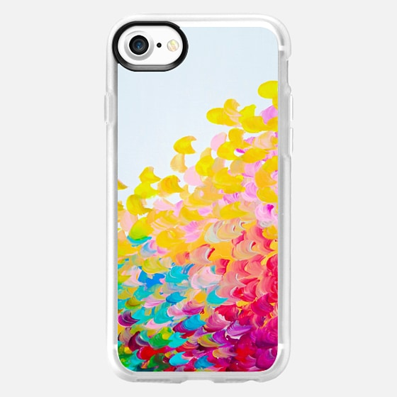 CREATION IN COLOR Bold Rainbow Multicolor Ocean Waves Splash Sea Ombre Colorful Bright Spring Summer Yellow Red pink Green Turquoise White Abstract Painting  - Wallet Case