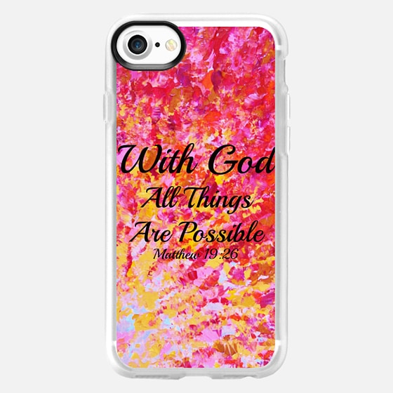 WITH GOD ALL THINGS ARE POSSIBLE - Matthew 19:26 Colorful Red Orange Yellow Pink Bold Ombre Splash Fine Art Painting Christian Bible Verse Scripture Typography Inspiration Faith -