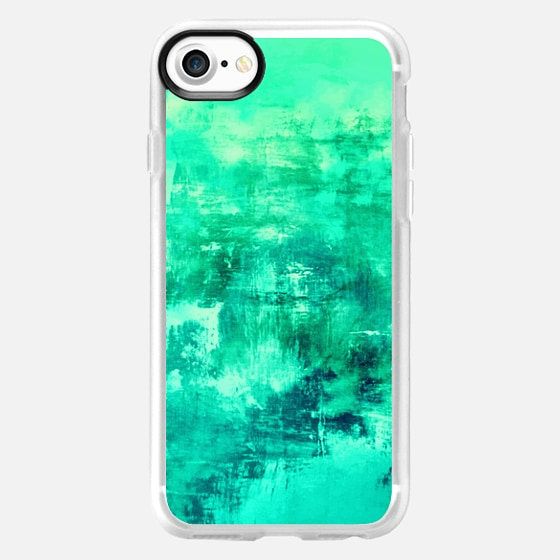 OFF THE GRID 6 Mint Green Seafoam Cool Coastal Summer Turquoise Aqua Abstract Watercolor Acrylic Fine Art Painting Nautical Beach Ocean Modern Design -