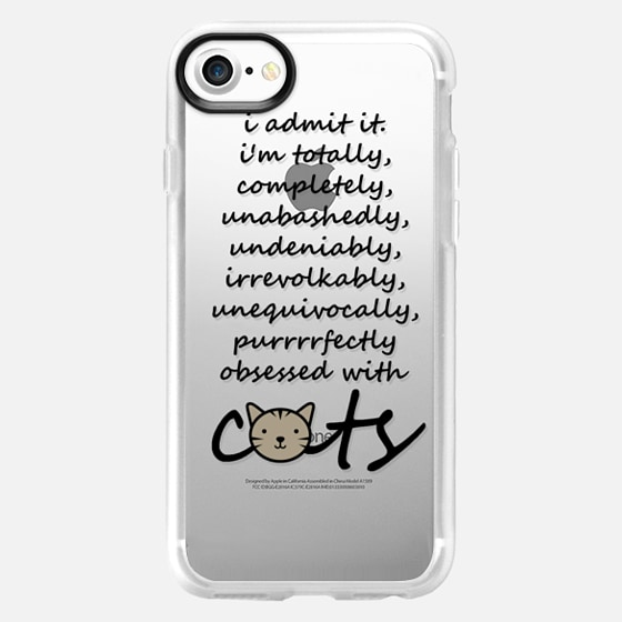 OBSESSED WITH CATS - GREY Crazy Cat Lady Kitty Kitten Cute Animals Pets Cat Love Adorable Typography Quote Font Black White Gray Transparent Chic Minimalist Modern Simple Lovely Design -