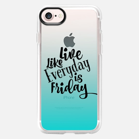 LIVE LIKE EVERYDAY IS FRIDAY - AQUA Turquoise Blue Ombre Abstract Transparent Art Typography Weekend Happy Days Friyay Cool Quote Font Relax Party Fun Teen Girly Chic Modern Design - Wallet Case