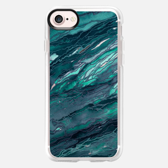 AGATE MAGIC, DARK TEAL BLUE Marble Glam Watercolor Painting Colorful Abstract Art Geode Marbled Aqua Turquoise Navy Metallic Accents Glamorous Modern Trendy Girly Chic Lovely Design - Wallet Case