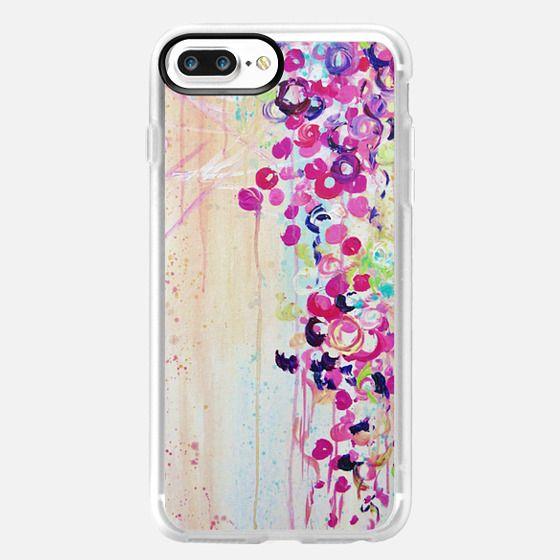 DANCE OF THE SAKURA - Lovely Floral Abstract Japanese Cherry Blossoms Flowers Girlie Sweet Spring Nature Romantic Feminine Peach Blue Painting -