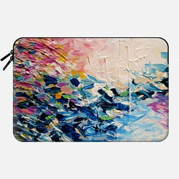 Macbook 12 Sleeve PARADISE DREAMING - Chic Colorful Pastel Pink Blue Turquoise White Ocean Waves Tropical Coastal Spring Summer Splash Nautical Nature Fine Art Textural Abstract Acrylic Painting
