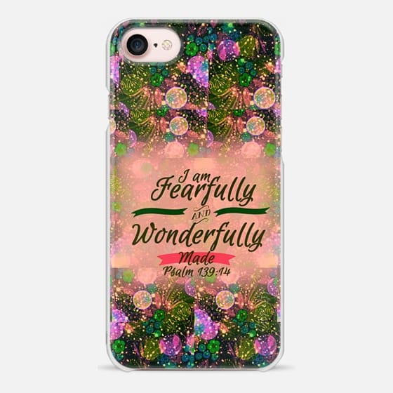 I AM FEARFULLY AND WONDERFULLY MADE 2 - Psalm 139:14 Whimsical Fine Art Colorful Floral Pattern Peach Blush Pink Green Christian Bible Verse Scripture Jesus Christ God Inspiration - Snap Case