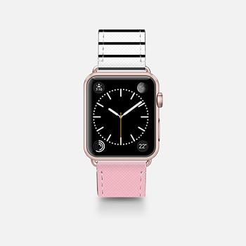 Leather Watch Band -  Pink and stripes