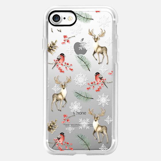 Christmas pattern with deer, bullfinch, snowflakes. Watercolor -