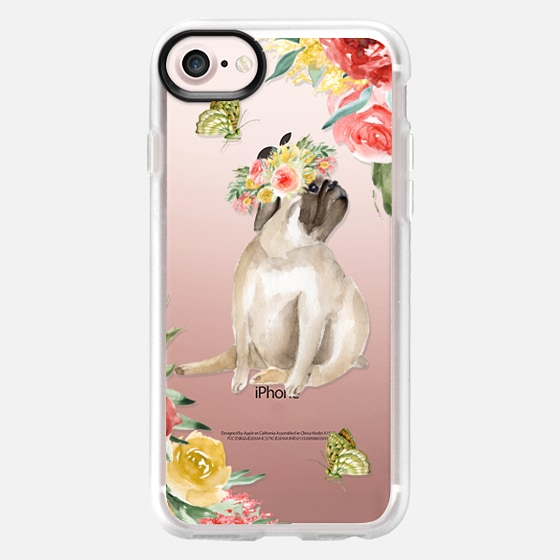 Cute pug and butterflies. Watercolor - Classic Grip Case