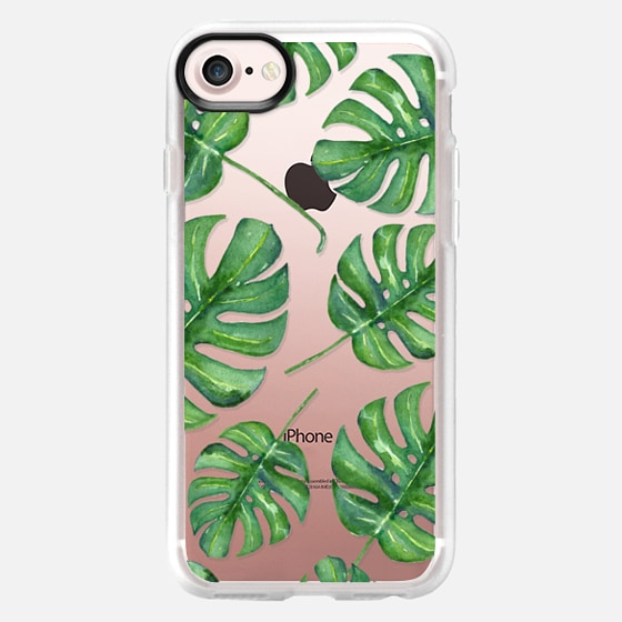 Tropical Palm Leaves Pattern // Watercolor Transparent - Wallet Case