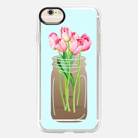 Mason Jar with Pink Tulips