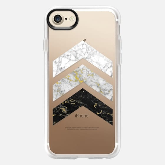 Gold Flecked Marble Chevrons / Transparent - Classic Grip Case