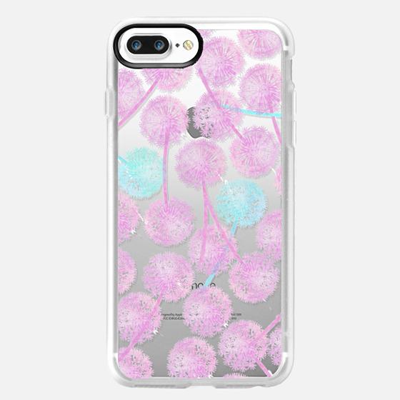 Pink watercolor summer dandelion floral pattern -