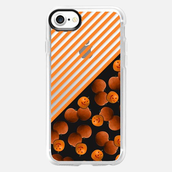 Black Orange Pumkin Halloween Linear Stripes Pattern Design -