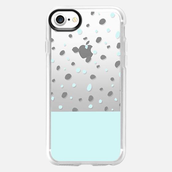Pastel blue gray watercolor polka dots  -