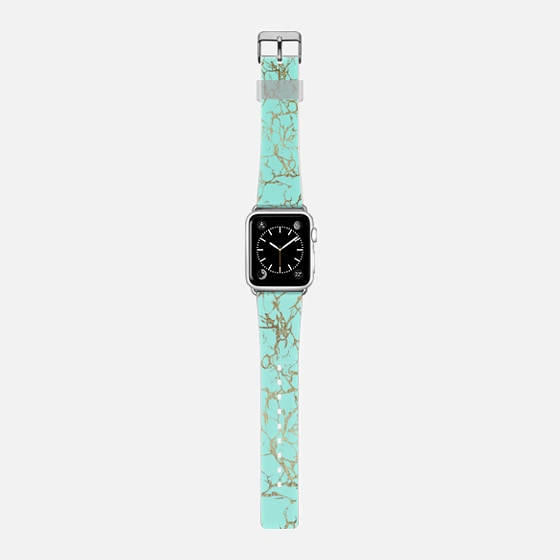 Chic turquoise faux gold foil marble pattern -