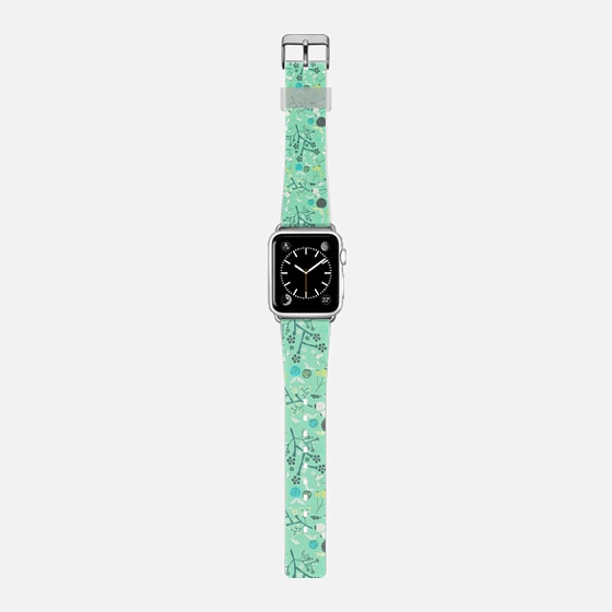 Vintage green white abstract floral pattern -