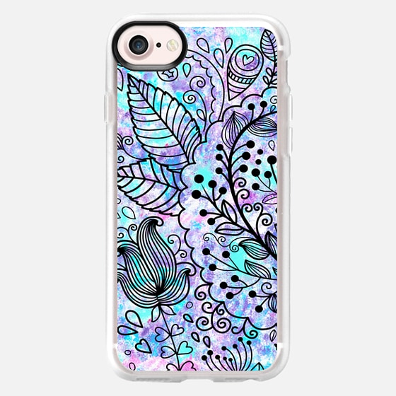 Bright pink teal watercolor hand drawn flowers illustration - Wallet Case