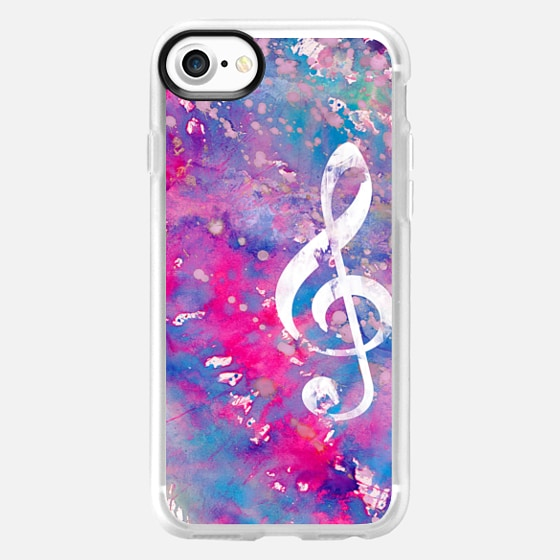 Bright pink purple watercolor white classical music note -