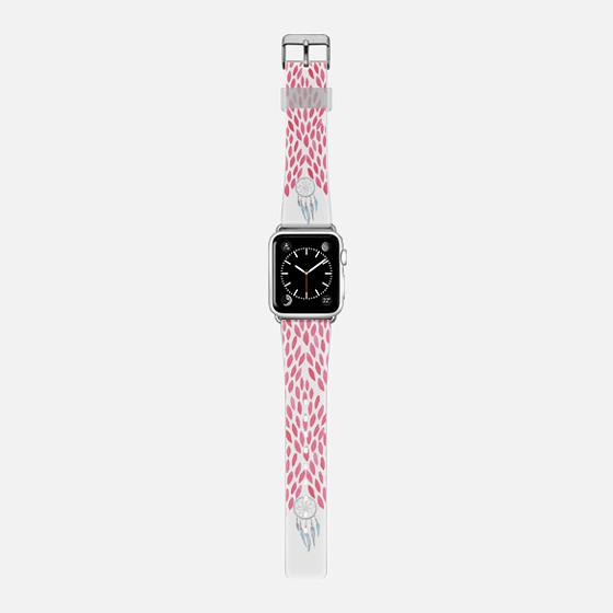 Bright pink pastels watercolor dreamcatcher brushstrokes pattern -