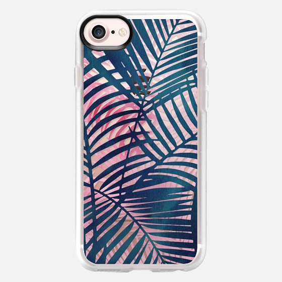 Modern artistic blue pink watercolor palm trees pattern - Wallet Case