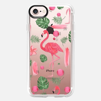 iPhone 7 Case Elegant hot pink watercolor tropical flamingo floral