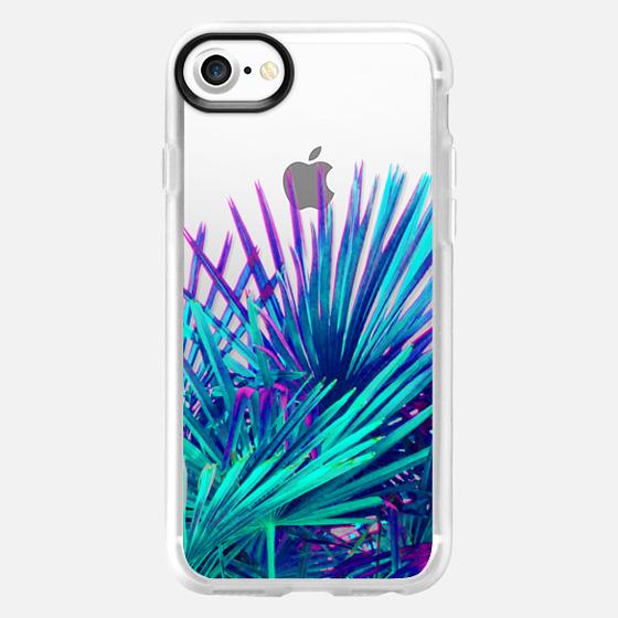 Cool modern teal purple artistic palm tree pattern -