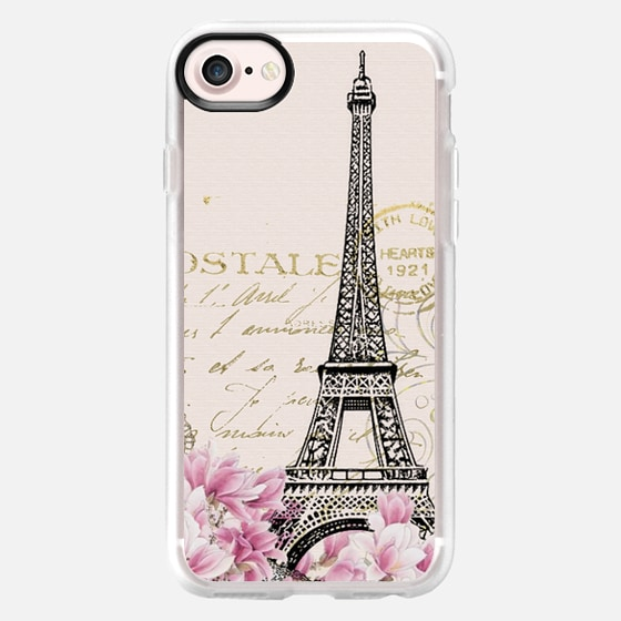Vintage paris eiffel tower shabby chic pastel floral gold typography - Wallet Case