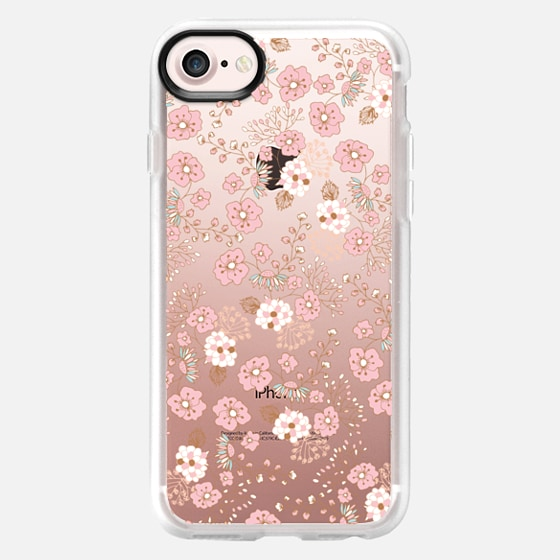 Vintage pastel pink brown chic country flowers - Wallet Case
