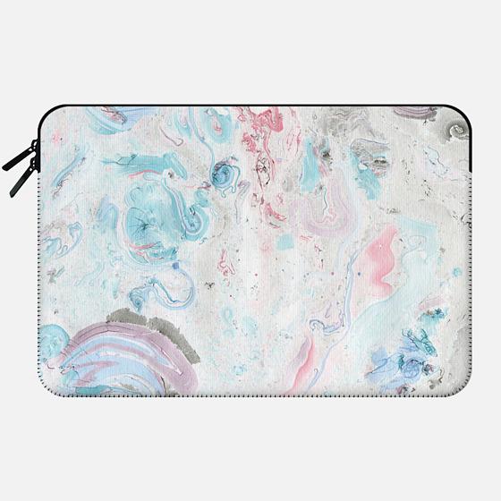 Vintage pastel pink teal chic stylish marble - Macbook Sleeve