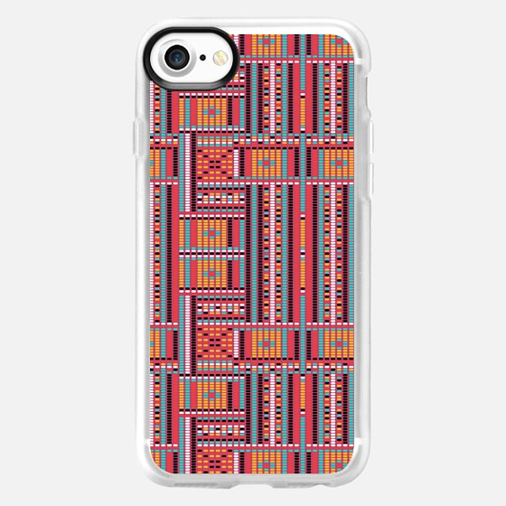 Vintage red orange ethnic aztec geometrical pattern -