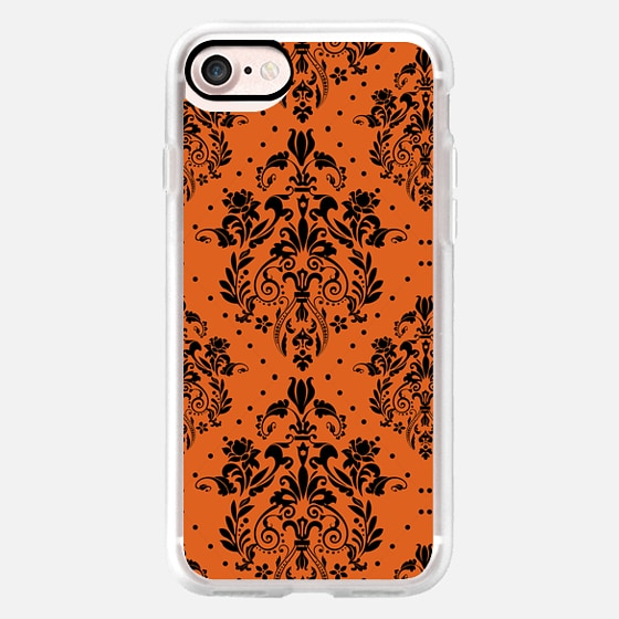 vintage elegant orange halloween damask -